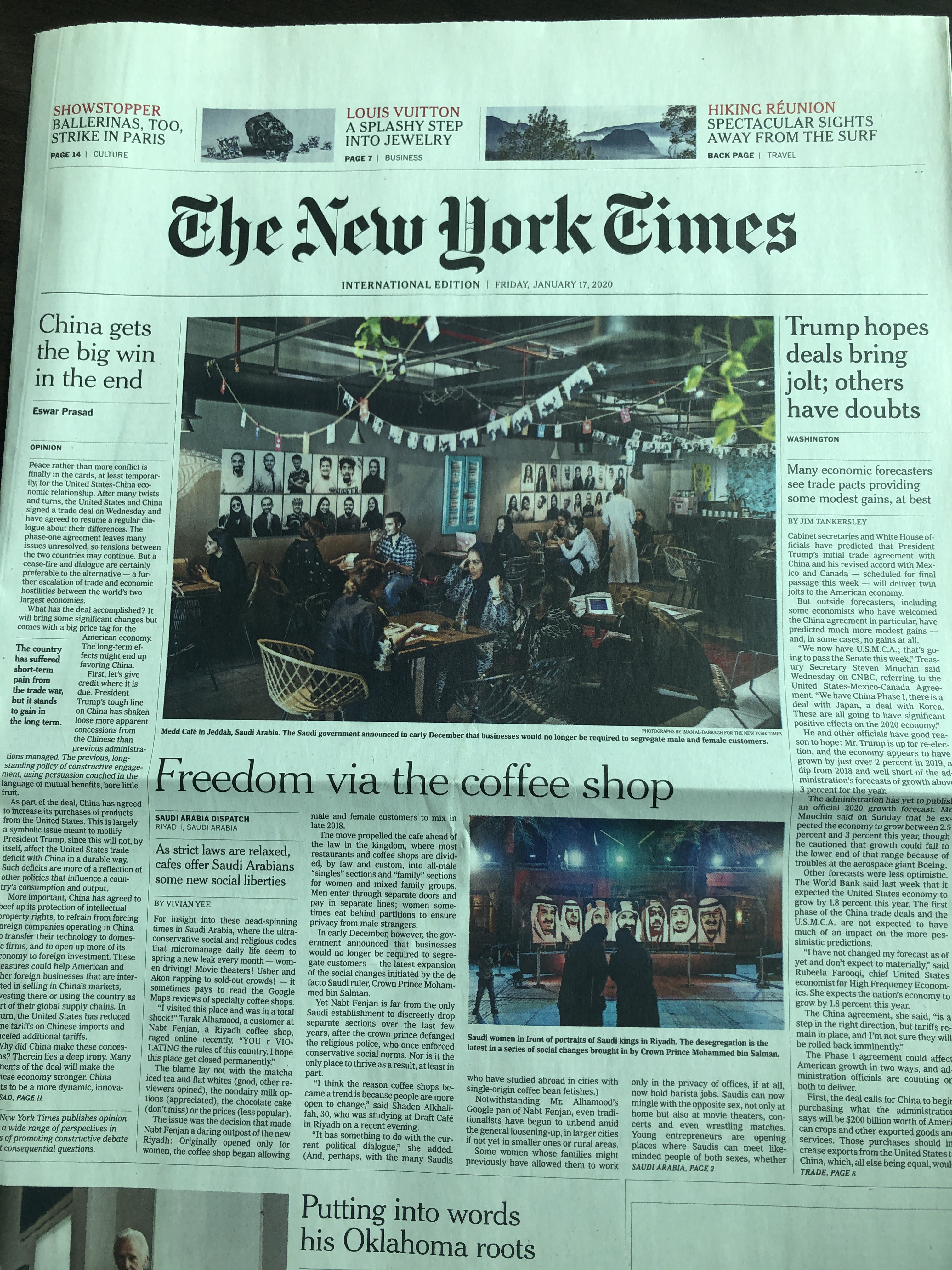NY Times article Saudi Arabia coffee shops