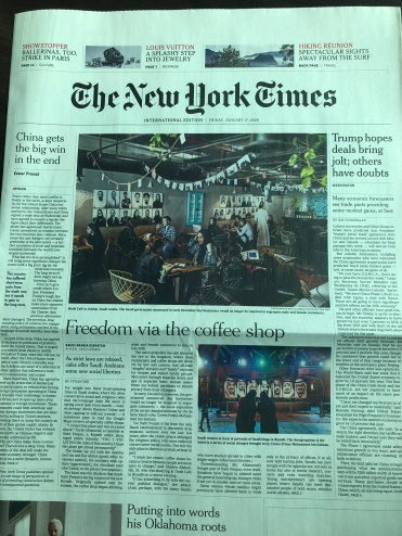 NY Times article Saudi Arabia coffee shops